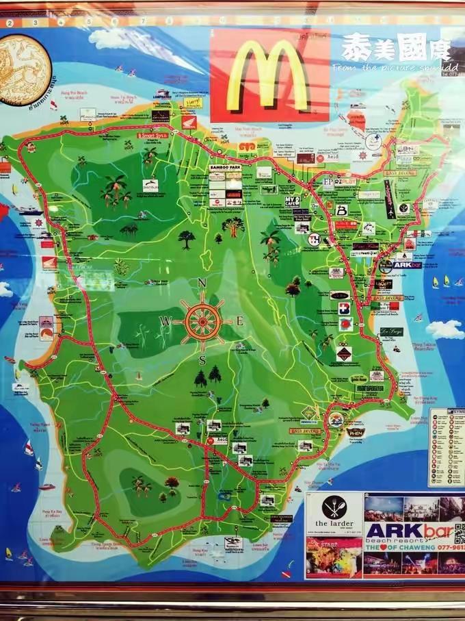 求苏梅岛地图 最好包含酒店和主要景点的谢谢
