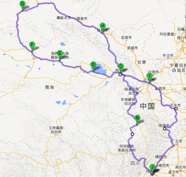 兰州9天自驾路线图  day1    路线1  成都——汶川——茂县——松潘—