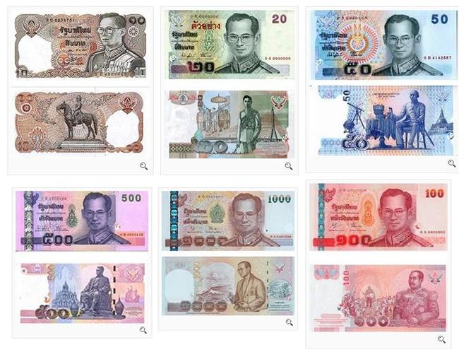 目前流通的有20,50,100,500及1000铢等五种面额的纸币和5,10, 25,50
